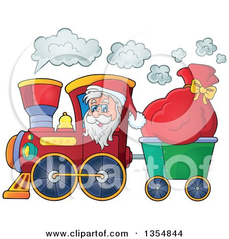 Clipart Of A Cartoon Christmas Santa Claus Driving A Train And Pulling A Sack Royalty Free Vector Illustration