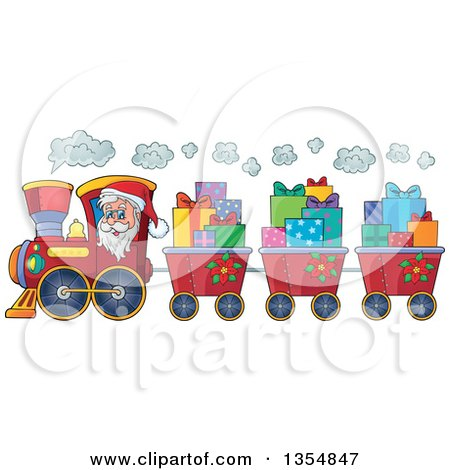 Clipart Of A Cartoon Christmas Santa Claus Driving A Train And Pulling Carts Of Gifts Royalty Free Vector Illustration