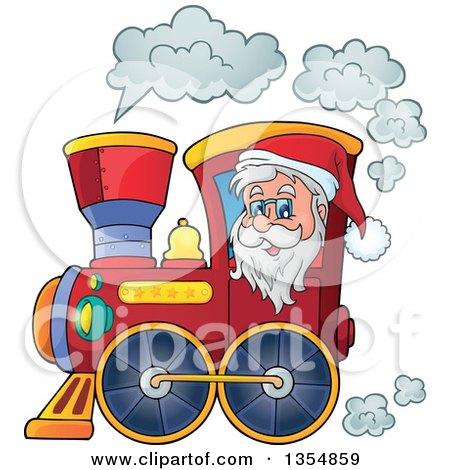 Clipart Of A Cartoon Christmas Santa Claus Driving A Train Royalty Free Vector Illustration