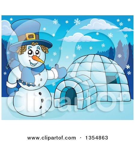 Clipart of a Cartoon Christmas Snowman Presenting an Igloo - Royalty Free Vector Illustration by visekart