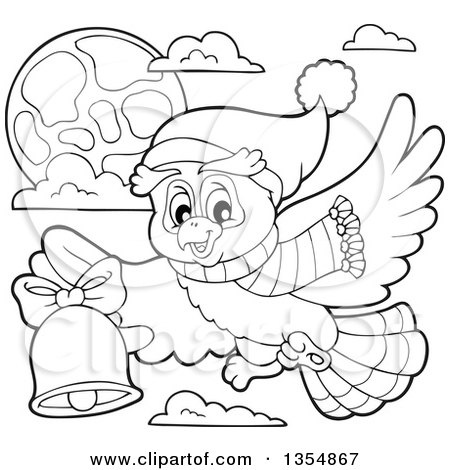 Outline Clipart of a Cartoon Black and White Christmas Owl Wearing a Winter Scarf and Hat, Flying and Ringing a Bell - Royalty Free Lineart Vector Illustration by visekart