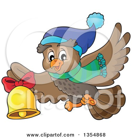 Clipart of a Cartoon Christmas Owl Wearing a Winter Scarf and Hat, Flying and Ringing a Bell - Royalty Free Vector Illustration by visekart