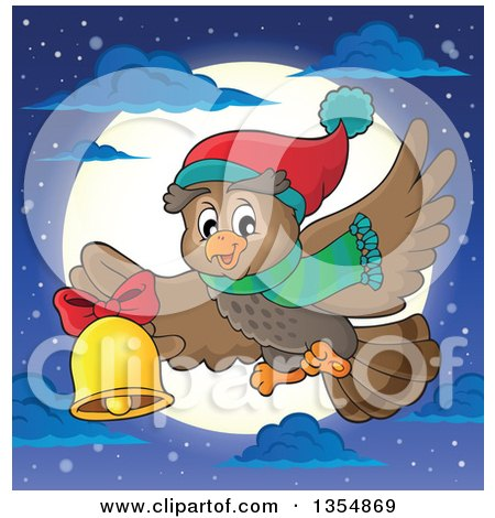 Clipart of a Cartoon Christmas Owl Wearing a Winter Scarf and Hat, Flying over a Full Moon and Ringing a Bell - Royalty Free Vector Illustration by visekart