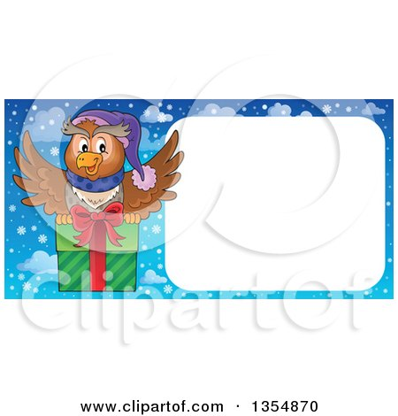 Clipart of a Cartoon Christmas Owl Flying a Gift by a Blank Sign - Royalty Free Vector Illustration by visekart