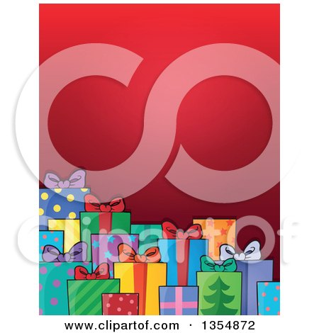 Clipart of a Background of Colorful Wrapped Christmas Gifts Under Red - Royalty Free Vector Illustration by visekart
