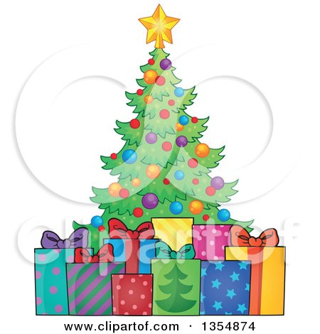 Clipart of a Cartoon Colorful Christmas Tree with Gifts - Royalty Free Vector Illustration by visekart