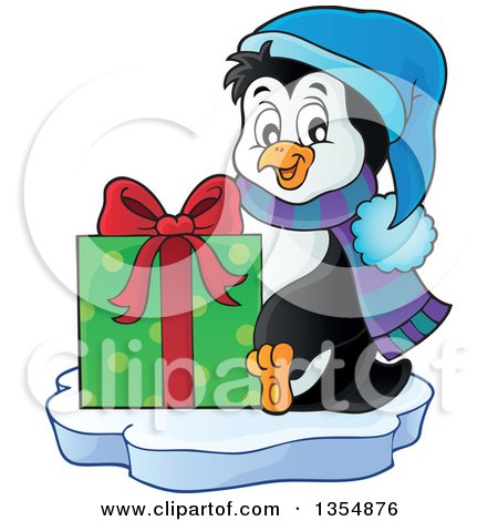 Clipart of a Cartoon Christmas Penguin Holding a Gift and Sitting on Ice - Royalty Free Vector Illustration by visekart