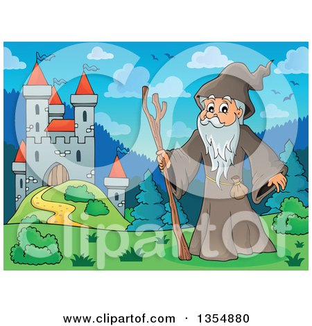 Clipart of a Cartoon Senior Druid Man by a Castle - Royalty Free Vector Illustration by visekart