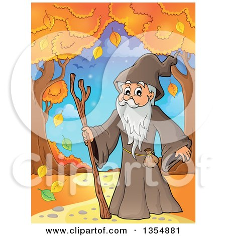 Clipart of a Cartoon Senior Druid Man on a Path with Autumn Trees - Royalty Free Vector Illustration by visekart