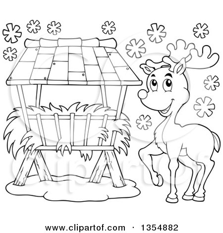 Outline Clipart of a Cartoon Black and White Reindeer by a Hay Rack Feeder in the Snow - Royalty Free Lineart Vector Illustration by visekart