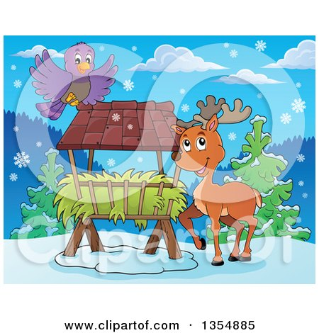 Clipart of a Cartoon Reindeer by a Hay Rack Feeder and Bird - Royalty Free Vector Illustration by visekart