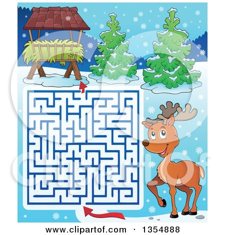 Clipart of a Cartoon Maze of a Reindeer Trying to Get to a Hay Rack Feeder - Royalty Free Vector Illustration by visekart