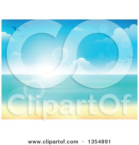 Clipart of a Tropical Beach with White Sand and the Horizon over the Ocean, with Seagulls, Clouds, Blur and Flares - Royalty Free Vector Illustration by visekart