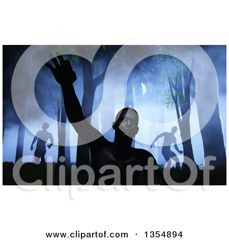 Clipart of 3d Zombies Rising and Wandering and Rising in a Dark Misty Forest with Moon Light - Royalty Free Illustration by KJ Pargeter
