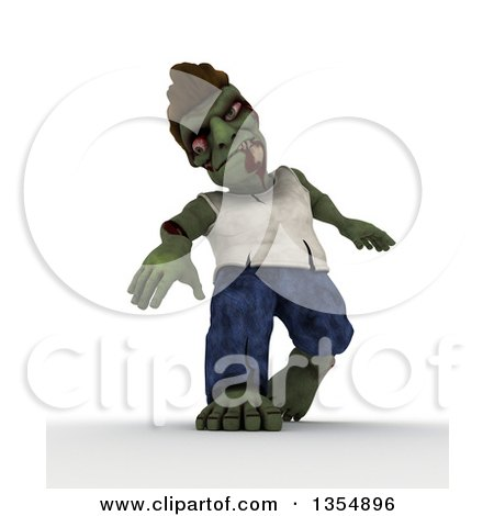 Clipart of a 3d Zombie Character Walking, on a Shaded White Background - Royalty Free Illustration by KJ Pargeter