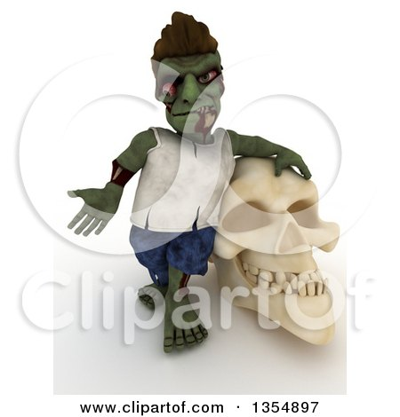 3d Zombie Character Leaning on and Shrugging by a Skull, on a Shaded White Background Posters, Art Prints