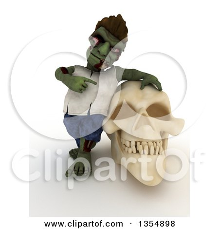 Clipart of a 3d Zombie Character Leaning on and Pointing to a Skull, on a Shaded White Background - Royalty Free Illustration by KJ Pargeter