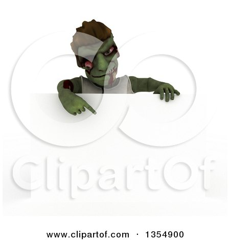 Clipart of a 3d Zombie Character Pointing down over a Blank Sign, on a Shaded White Background - Royalty Free Illustration by KJ Pargeter