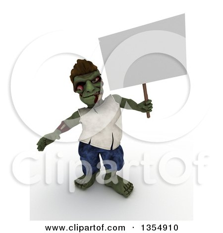 Clipart of a 3d Zombie Character Holding a Blank Sign, on a Shaded White Background - Royalty Free Illustration by KJ Pargeter