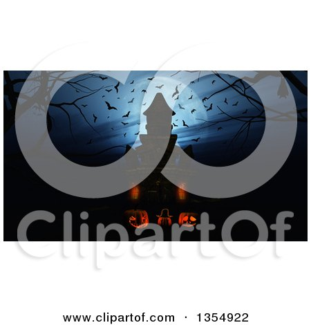 Clipart of 3d Illuminated Halloween Jackolantern Pumpkins Against a Silhouetted Haunted Castle with Bats and a Full Moon - Royalty Free Illustration by KJ Pargeter
