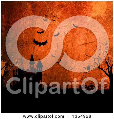 Clipart of Halloween Jackolantern Pumpkins near a Haunted Castle with Bats and an Owl over Orange Grunge - Royalty Free Illustration by KJ Pargeter
