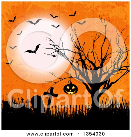 Clipart of a Hanging Halloween Jackolantern Pumpkin in a Silhouetted Bare Tree over an Abandoned Cemetery with Flying Bats and a Full Moon on Orange Grunge - Royalty Free Vector Illustration by KJ Pargeter