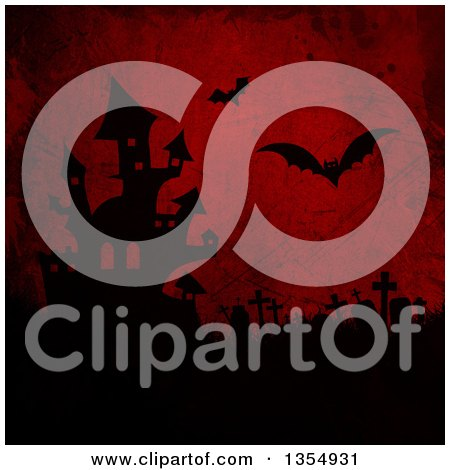 Clipart of a Silhouetted Haunted Halloween Castle, Tombstomes and Flying Vampire Bats on Red Grunge - Royalty Free Illustration by KJ Pargeter