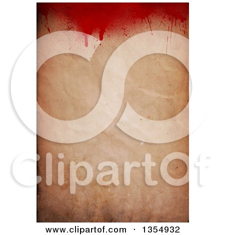 Clipart of a Halloween Background Fo Blood Splatters over Crinkled Antique Paper - Royalty Free Illustration by KJ Pargeter