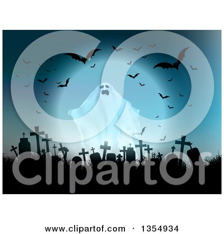 Clipart of a Halloween Ghost Haunting a Silhouetted Abandoned Cemetery with Flying Bats and a Full Moon in Blue Tones - Royalty Free Vector Illustration by KJ Pargeter