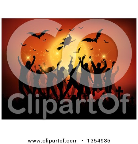 Clipart Of A Silhouetted Flying Halloween Witch And Bats Against A Full Moon Over People Dancing In A Cemetery Royalty Free Vector Illustration