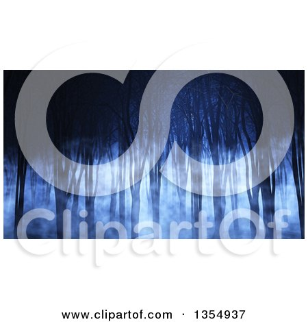 Clipart of a 3d Spooky Forest with Foggy Mist and Bare Trees at Night - Royalty Free Illustration by KJ Pargeter