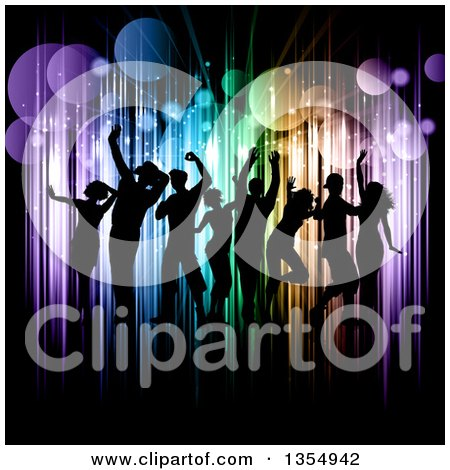 Clipart of a Silhouetted Crowd of Young People Dancing over Colorful Vertical Lights and Flares on Black - Royalty Free Vector Illustration by KJ Pargeter