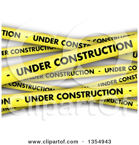 Clipart of a Background of Yellow Under Construction Tape, over Shaded White - Royalty Free Vector Illustration by KJ Pargeter