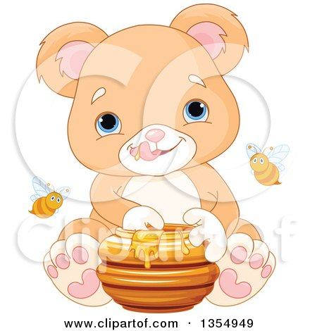 Clipart of a Cute Baby or Teddy Bear Cub Eating Honey, with Bees - Royalty Free Vector Illustration by Pushkin