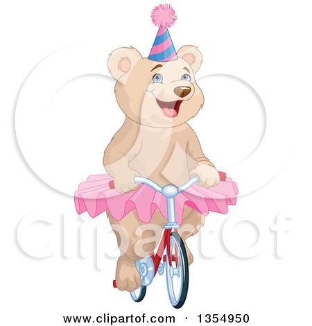 Clipart of a Happy Circus Bear Wearing a Tutu and Party Hat and Riding a Bicycle - Royalty Free Vector Illustration by Pushkin