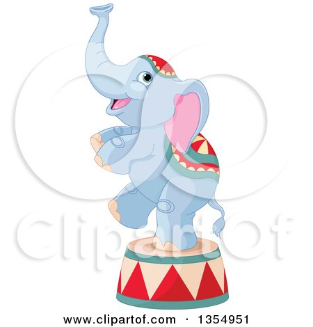 Clipart of a Cute Baby Circus Elephant Standing on One Leg on a Platform - Royalty Free Vector Illustration by Pushkin