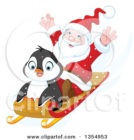 Clipart Of A Cute Penguin And Santa Going Downhill On A Sled Royalty Free Vector Illustration