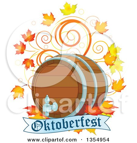 Clipart of a Beer Keg with Autumn Leaves and Swirls over an Oktoberfest Banner - Royalty Free Vector Illustration by Pushkin