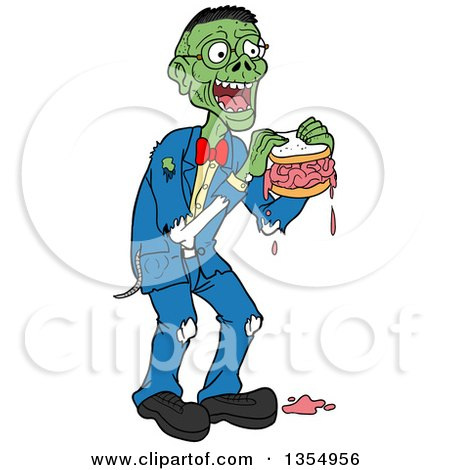 Clipart of a Cartoon Bespectacled Male Zombie Eating a Brain Sandwich - Royalty Free Vector Illustration by LaffToon