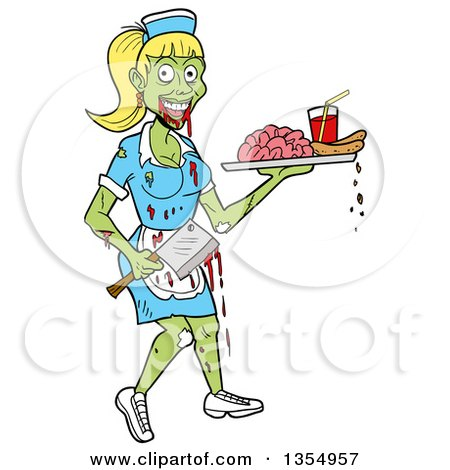 Clipart of a Cartoon Female Zombie Waitress Holding an Axe and Serving Brains and Blood - Royalty Free Vector Illustration by LaffToon