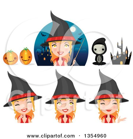 Clipart of a Kid in a Skeleton Costume, Jackolantern Halloween Pumpkins, Haunted Castle and Witches - Royalty Free Vector Illustration by Melisende Vector