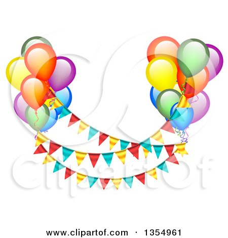 Clipart of Colorful Party Balloons Floating with Bunting Banners - Royalty Free Vector Illustration by vectorace