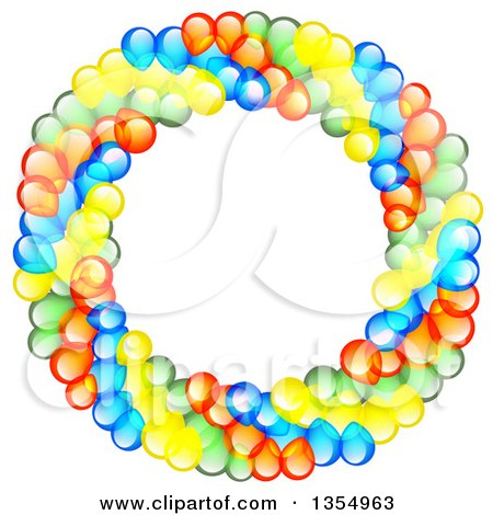 Clipart of a Colorful Party Balloon Wreath - Royalty Free Vector Illustration by vectorace