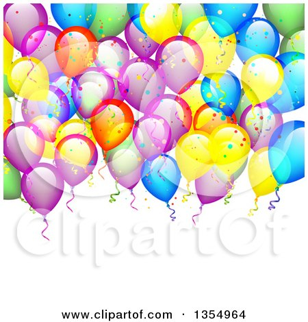 Clipart of a Colorful Party Balloon and Confetti Background over Text Space - Royalty Free Vector Illustration by vectorace