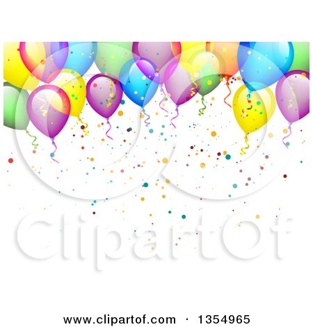 Clipart of a Colorful Party Balloon and Confetti Background - Royalty Free Vector Illustration by vectorace
