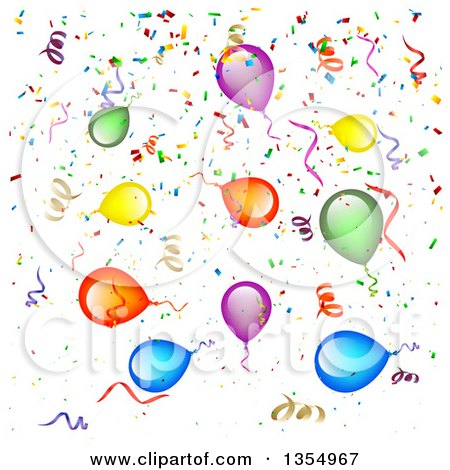 Clipart of a Background of Colorful Party Balloons, Streamers and ...