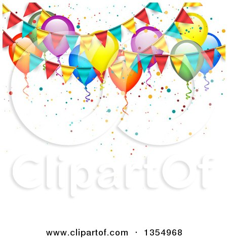 Clipart of a Background of Colorful Party Balloons, Confetti and Bunting Banners - Royalty Free Vector Illustration by vectorace