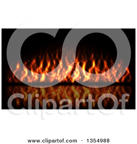 Clipart of a Red Hot Fire Burning on Black - Royalty Free Vector Illustration by vectorace