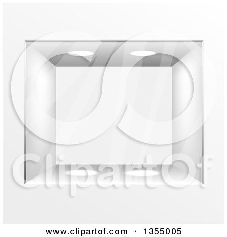 Clipart of a Glass Gallery Case with Lights - Royalty Free Vector Illustration by vectorace