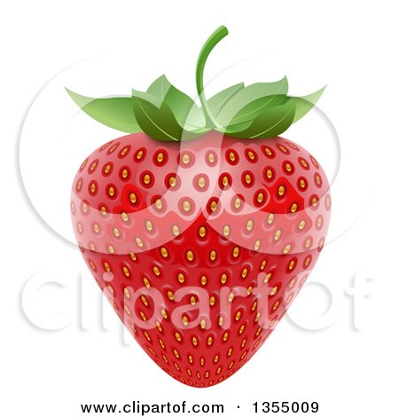 Clipart of a 3d Ripe Red Strawbery and Leaf - Royalty Free Vector Illustration by vectorace